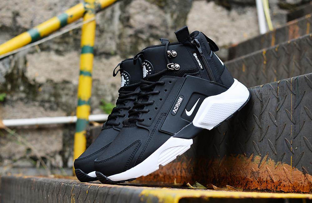 f1b280edbfc94 2018 Men Nike Huarache X Acronym City MID Leather Black White ...