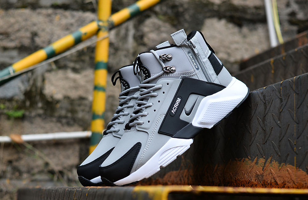 0307a74591ad 2018 Men Nike Huarache X Acronym City MID Leather Grey Black ...