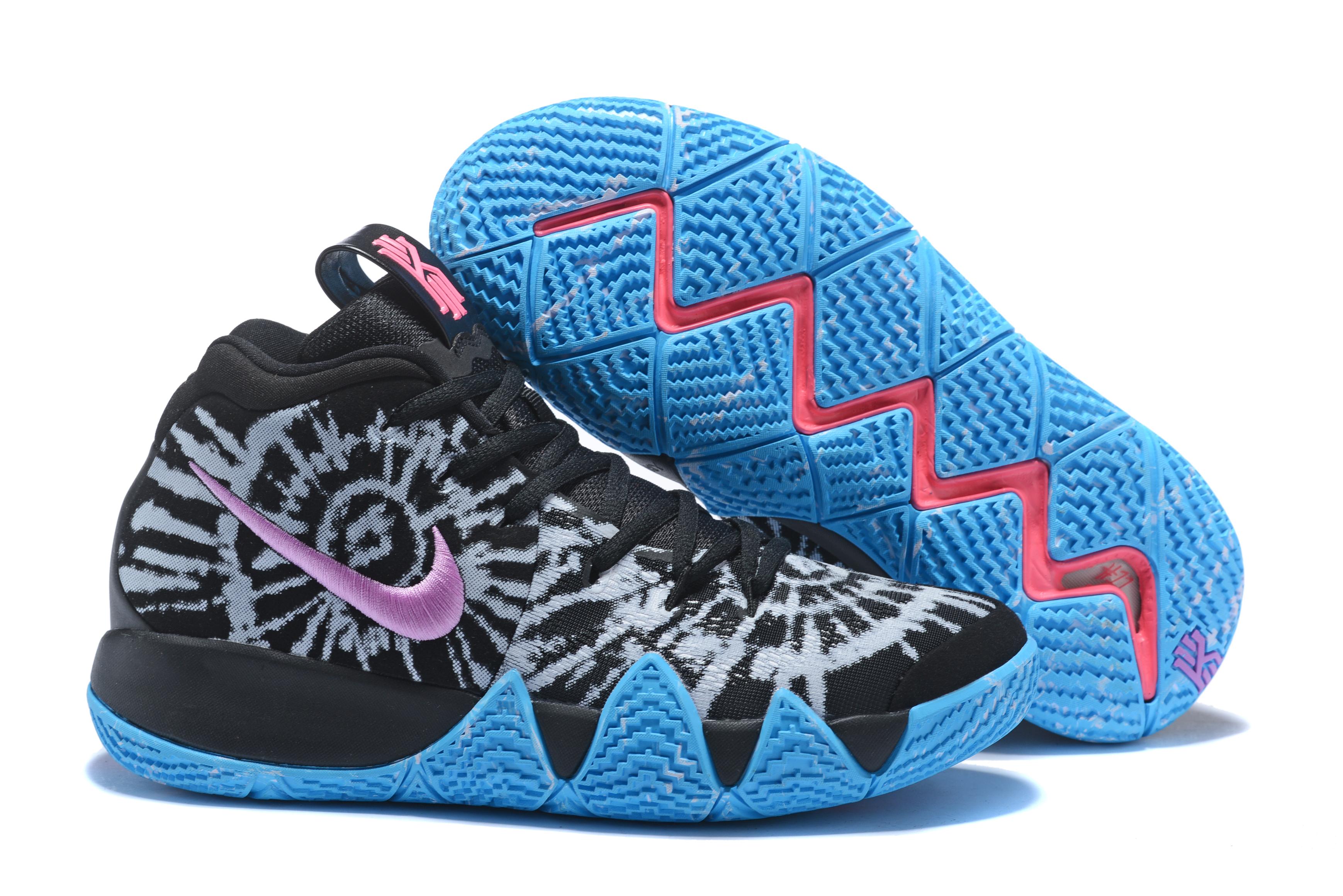 size 40 25e63 62314 2018 Nike Kyrie 4 Black Purple Jade Blue Shoes