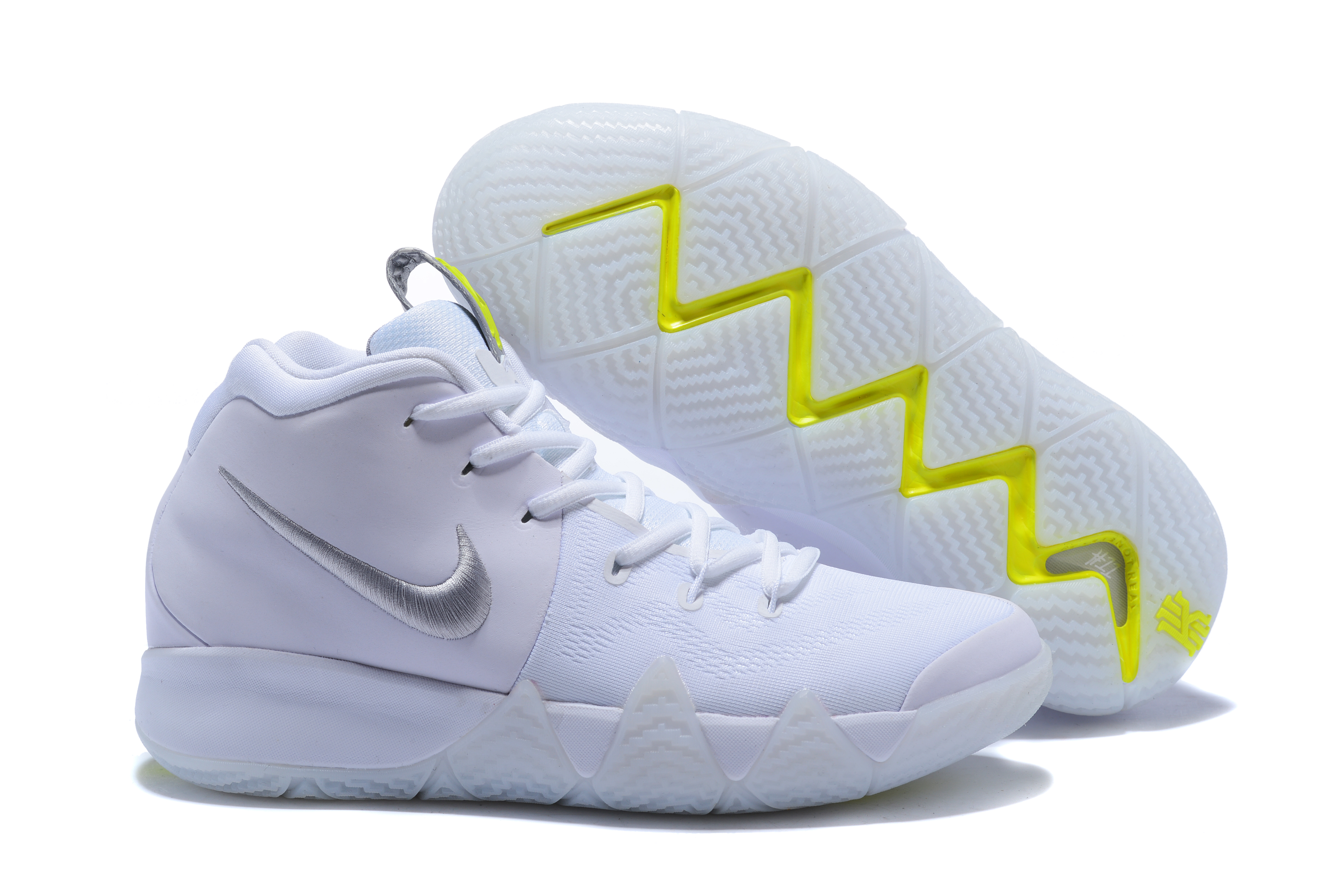 2018 Nike Kyrie 4 White Fluorscent Green Shoes