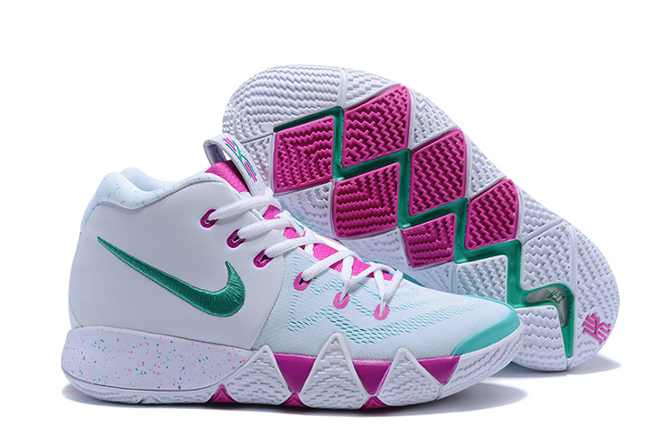 2018 Nike Kyrie 4 White Purple Gint Green Shoes
