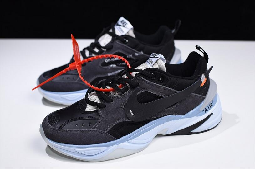 Custom Off White x Nike M2K Tekno Black Ice Blue | Scarpe