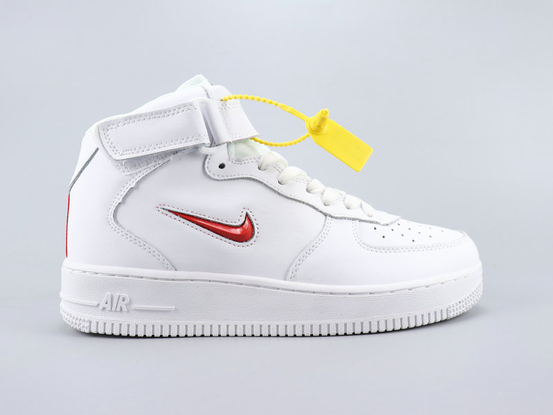 2020 Women Nike Air Force 1 Mid Retro PRM QS White Red Shoes