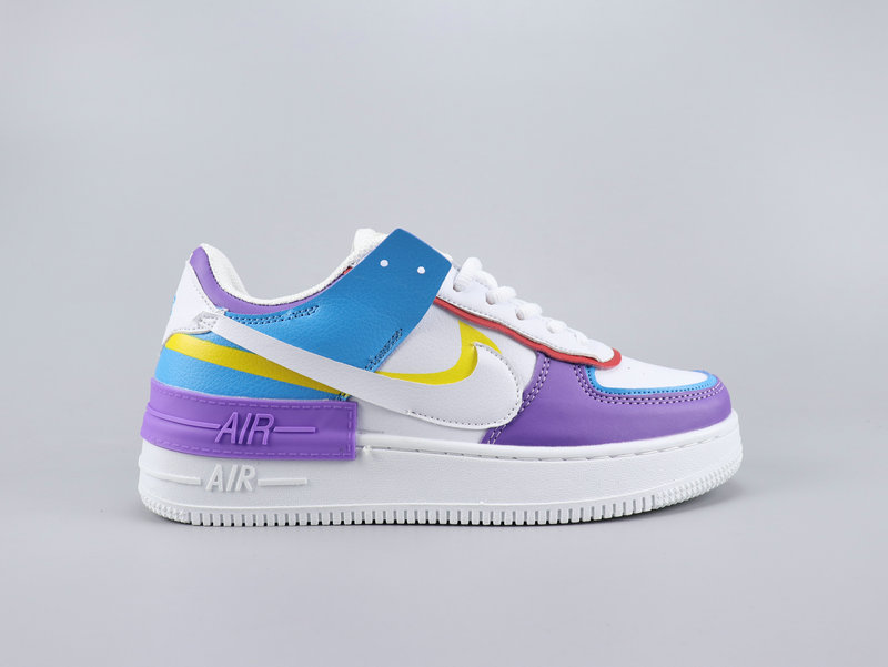 2020 Nike Air Force 1 Shadow White Purple Blue Yellow Shoes For Women