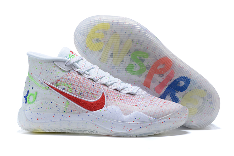 2020 Nike KD 13 White Red Blue Shoes