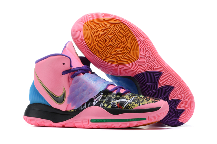 Women 2020 Nike Kyrie 6 Pink Black Blue Shoes