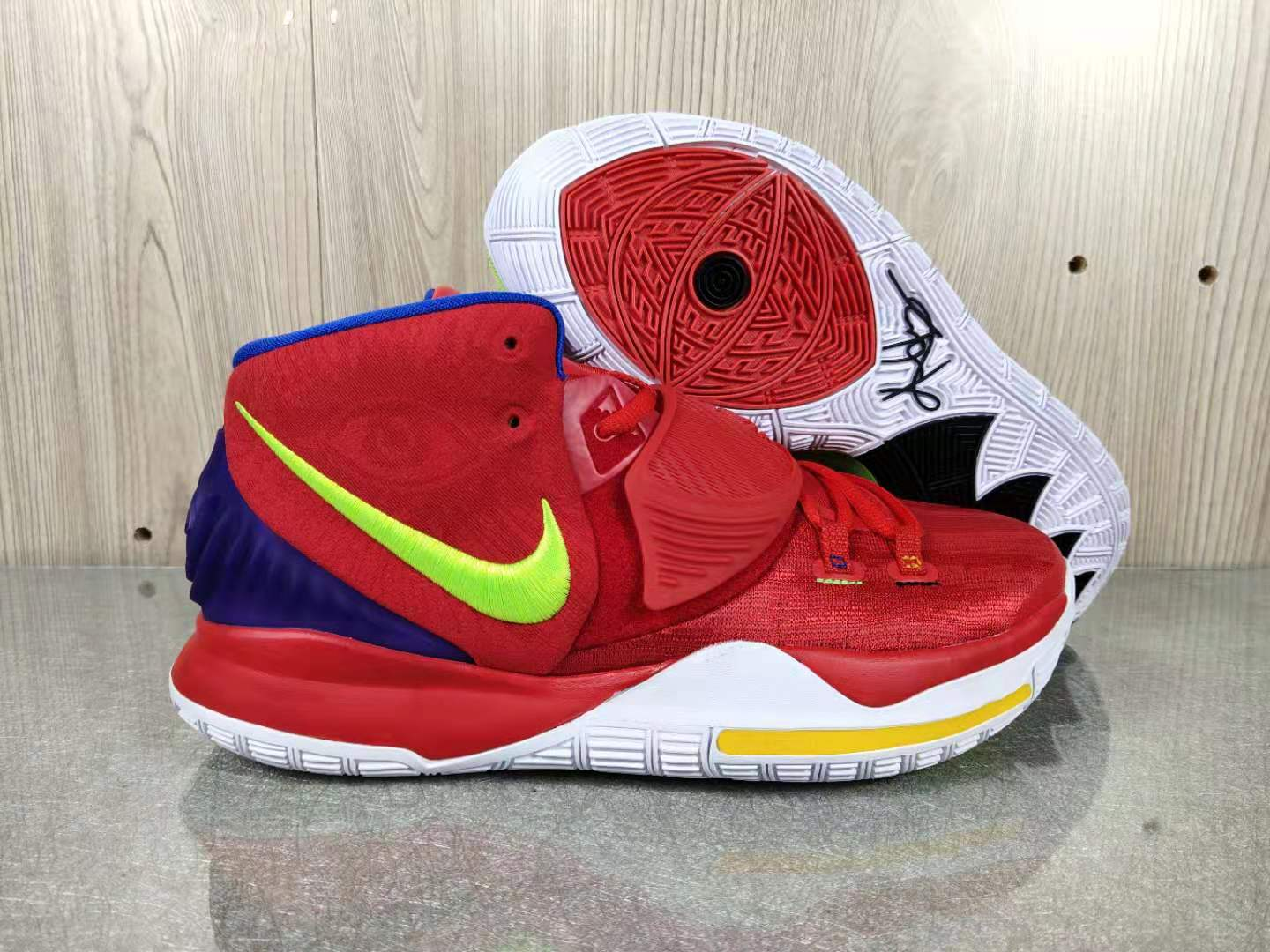 2020 Nike Kyrie 6 Red Green Yellow Shoes