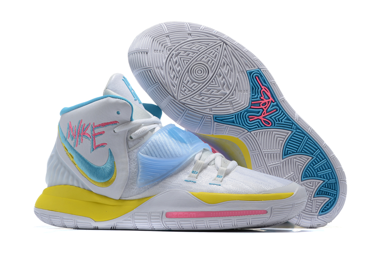 Women 2020 Nike Kyrie 6 White Yellow Blue Pink Shoes