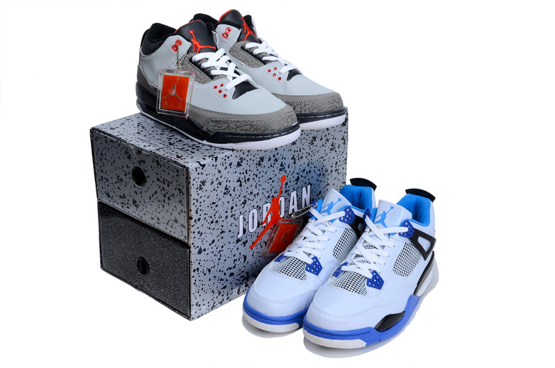 Air Jordan 3 Grey Black Jordan 4 White Blue Combine Package Shoes