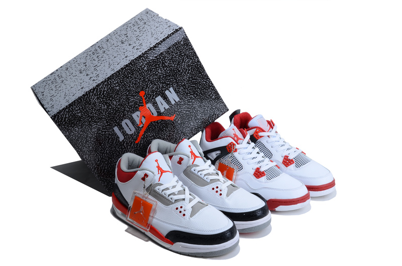 Air Jordan 3 Jordan 4 White Red Combine Package Shoes