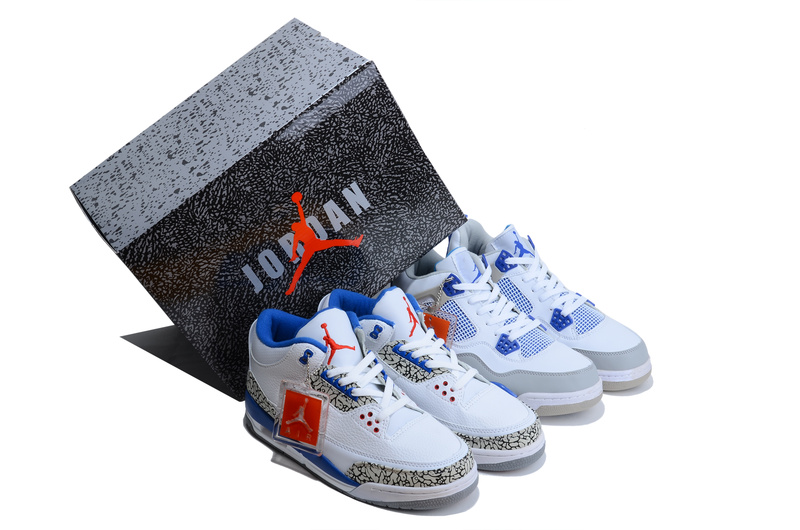 Air Jordan 3 White Blue Jordan 4 White Grey Combine Package Shoes
