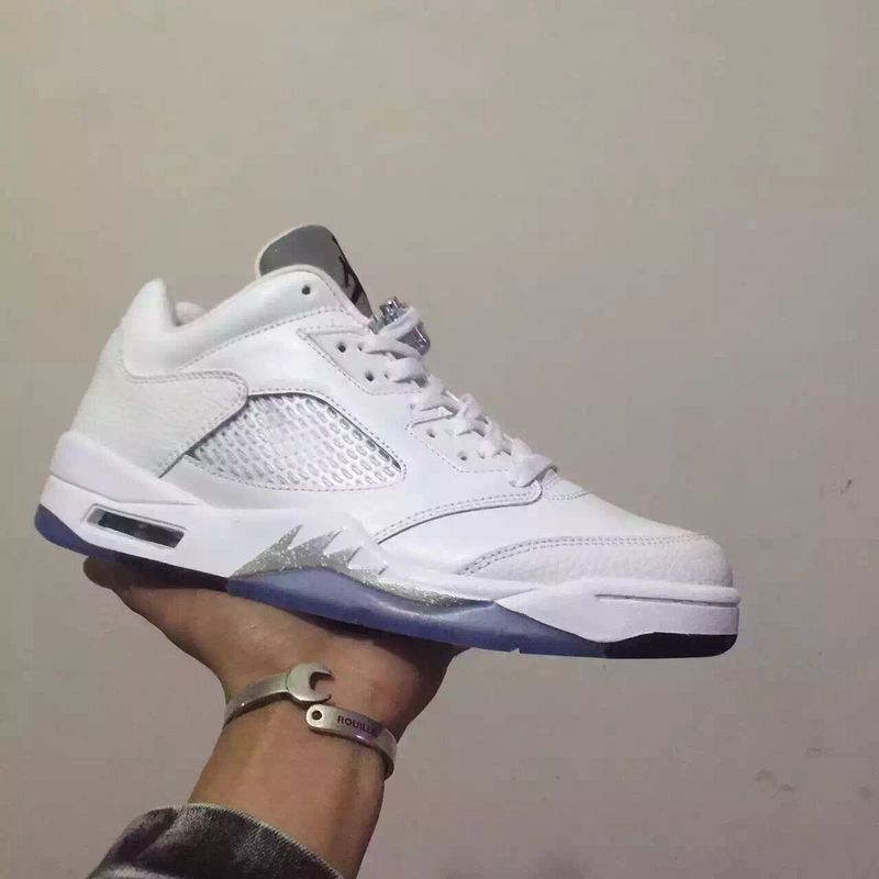2016 Nike Jordan 5 Low GS White Silver