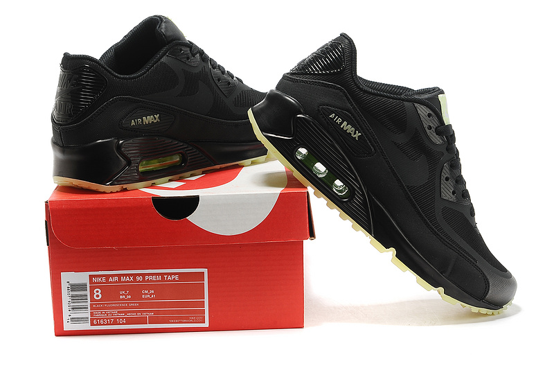 New Nike Air Max 90 All Black Green Sole Shoe