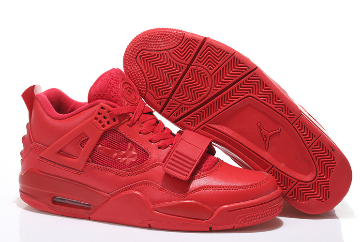 2015 All Red Nike Air Jordan 4 Shoes With Strap