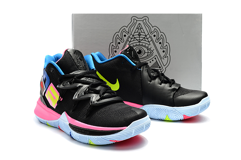 Boy's Nike Kyrie 5 Black Pink Jade Green Shoes