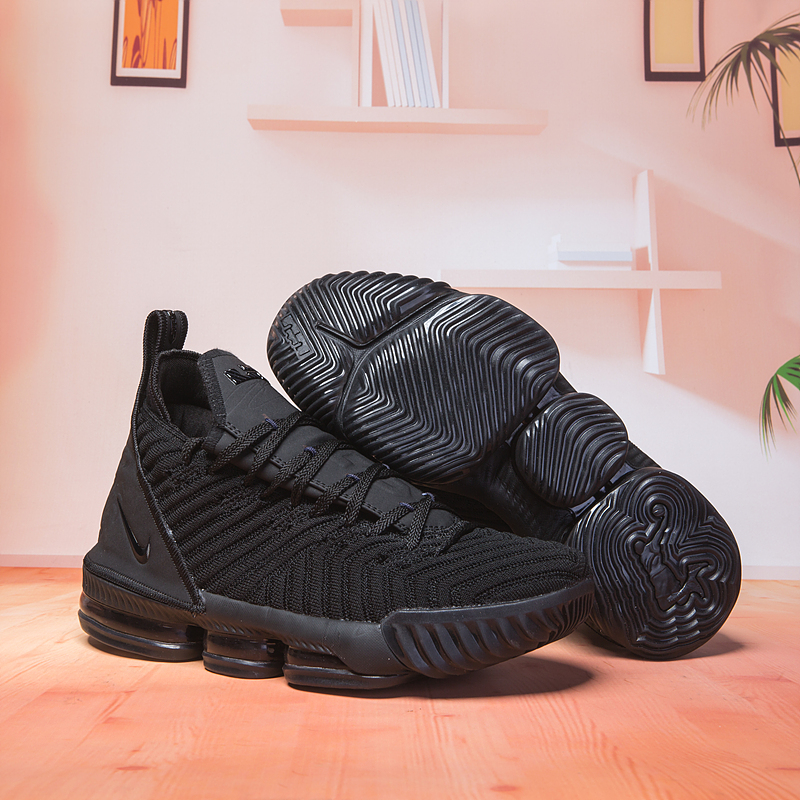 Women Nike Lebron 16 All Black Shoes
