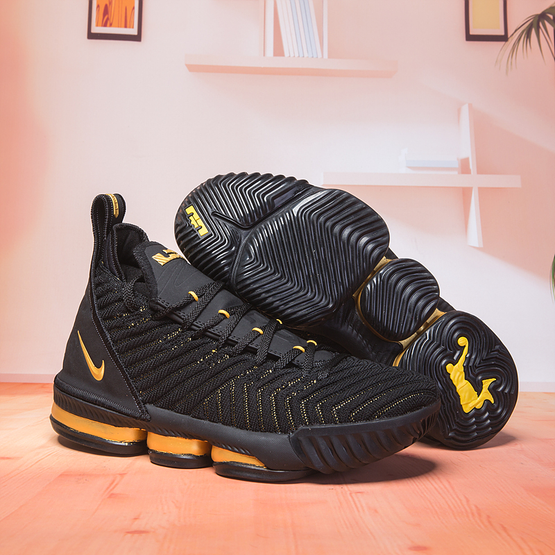 Women Nike Lebron 16 Black Yellow Shoes