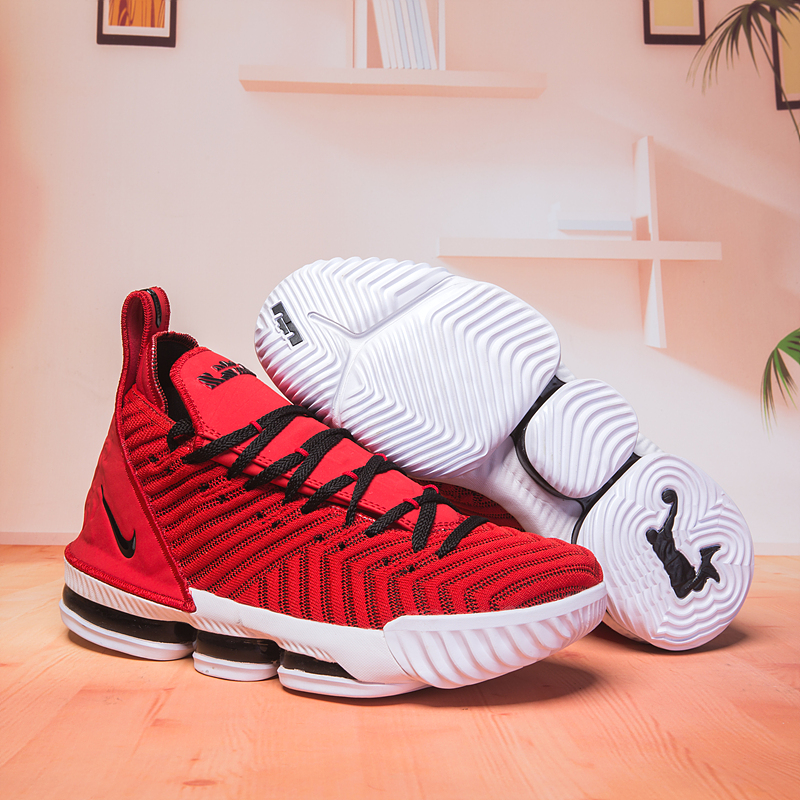 Women Nike Lebron 16 Red Black White Shoes