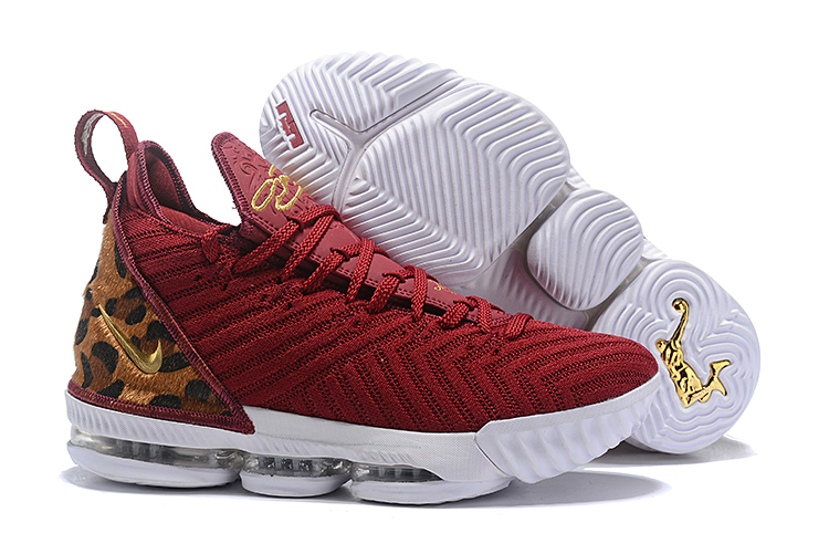 Cheetah Print Nike LeBron 16 Yellow Red Shoes