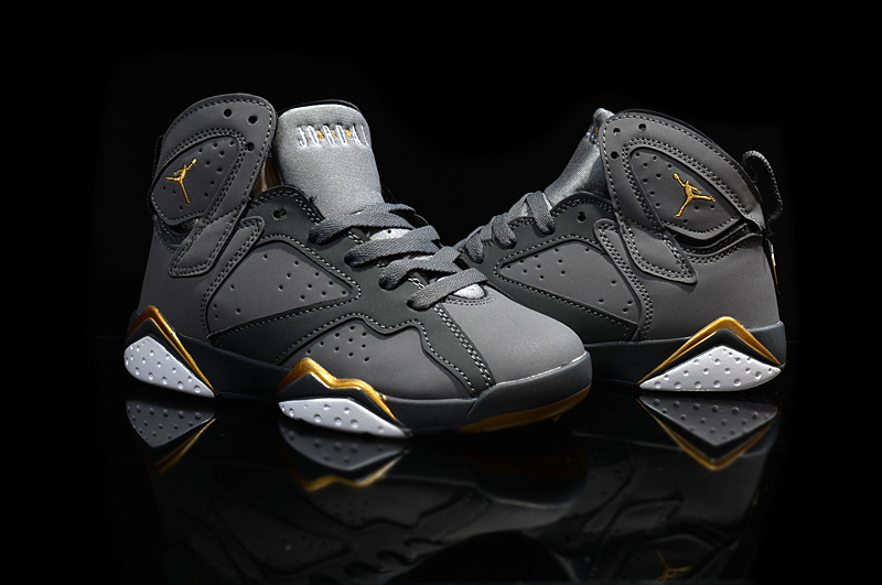 Kids Air Jordan 7 Retro Grey Gold Shoes