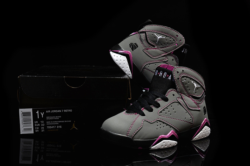 Kids Air Jordan 7 Retro Grey Purple Black Shoes