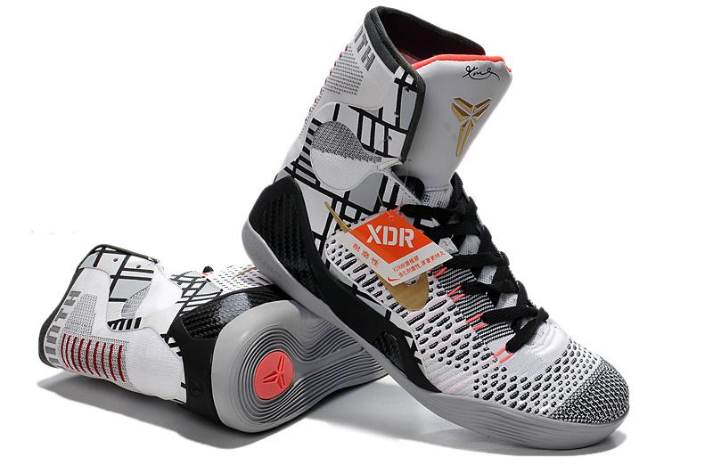 28765dc8fcff Nike Kobe Bryant 9 Elite High White Black Grey Shoes