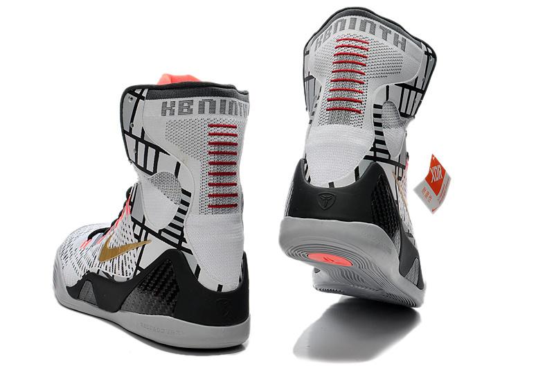 best website d161c 35c4a Nike Kobe Bryant 9 Elite High White Black Grey Shoes