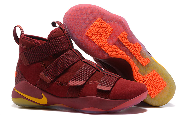 LeBron Soldier 11 Wine Red Yellow Shoes
