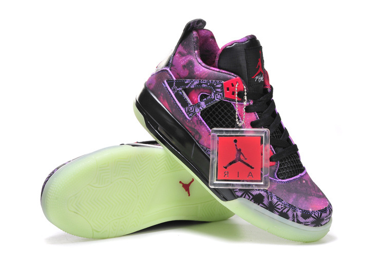 Limited Womens Nike Jordan 4 Starry Sky Edition Purple Black Shoes
