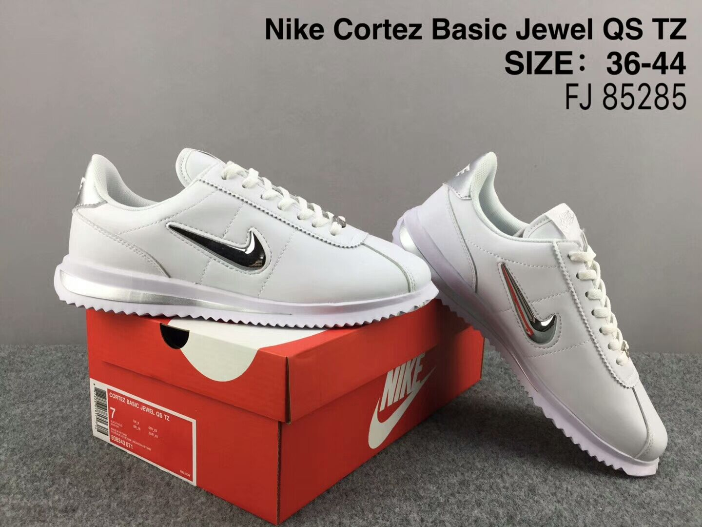 NiKe Cortez Basic Jewel QS TZ White Gold Shoes