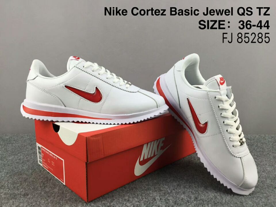 NiKe Cortez Basic Jewel QS TZ White Red Shoes
