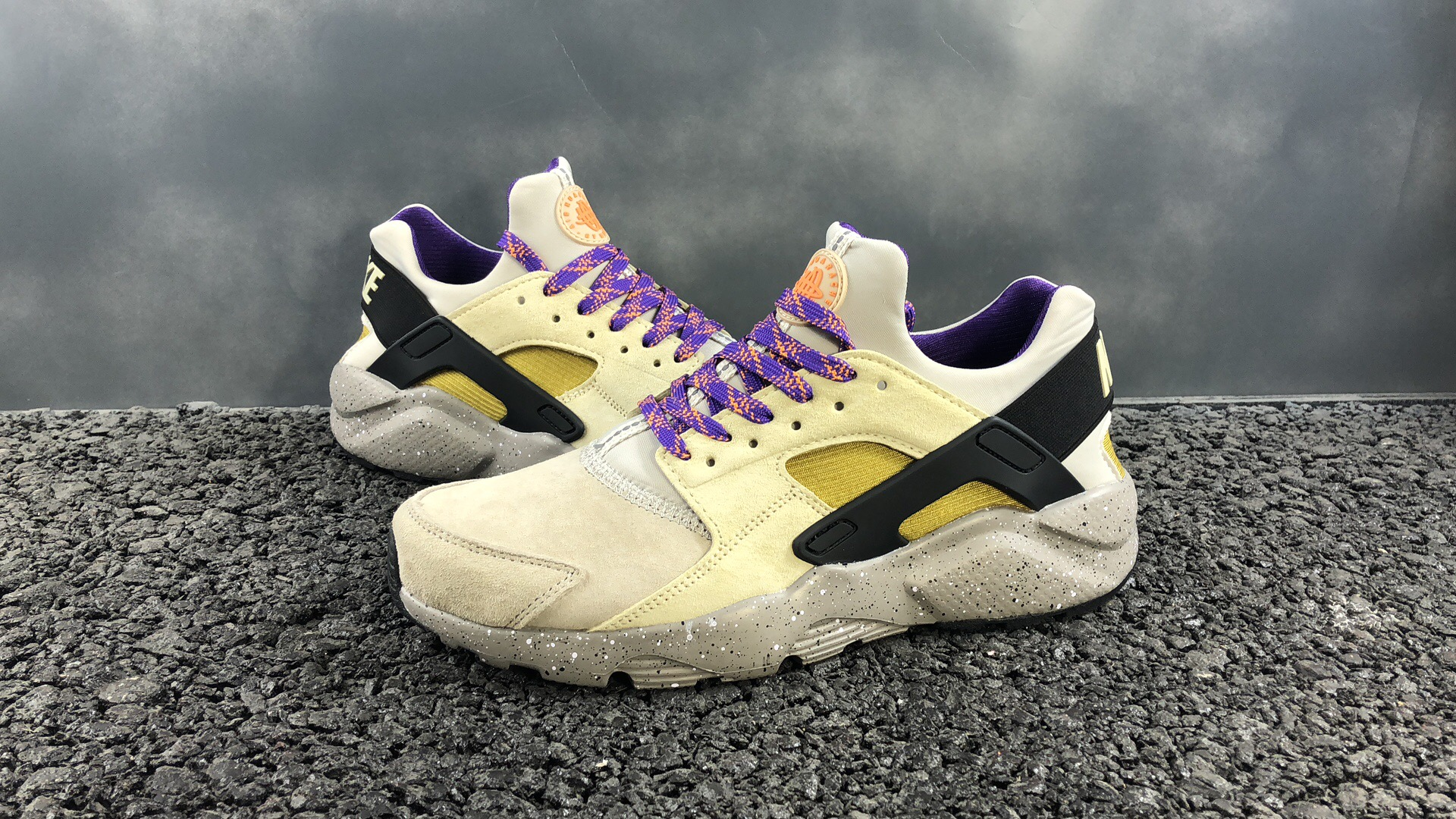 Women Air Huarache Ultra Suede ID Beign Black Purple Shoes