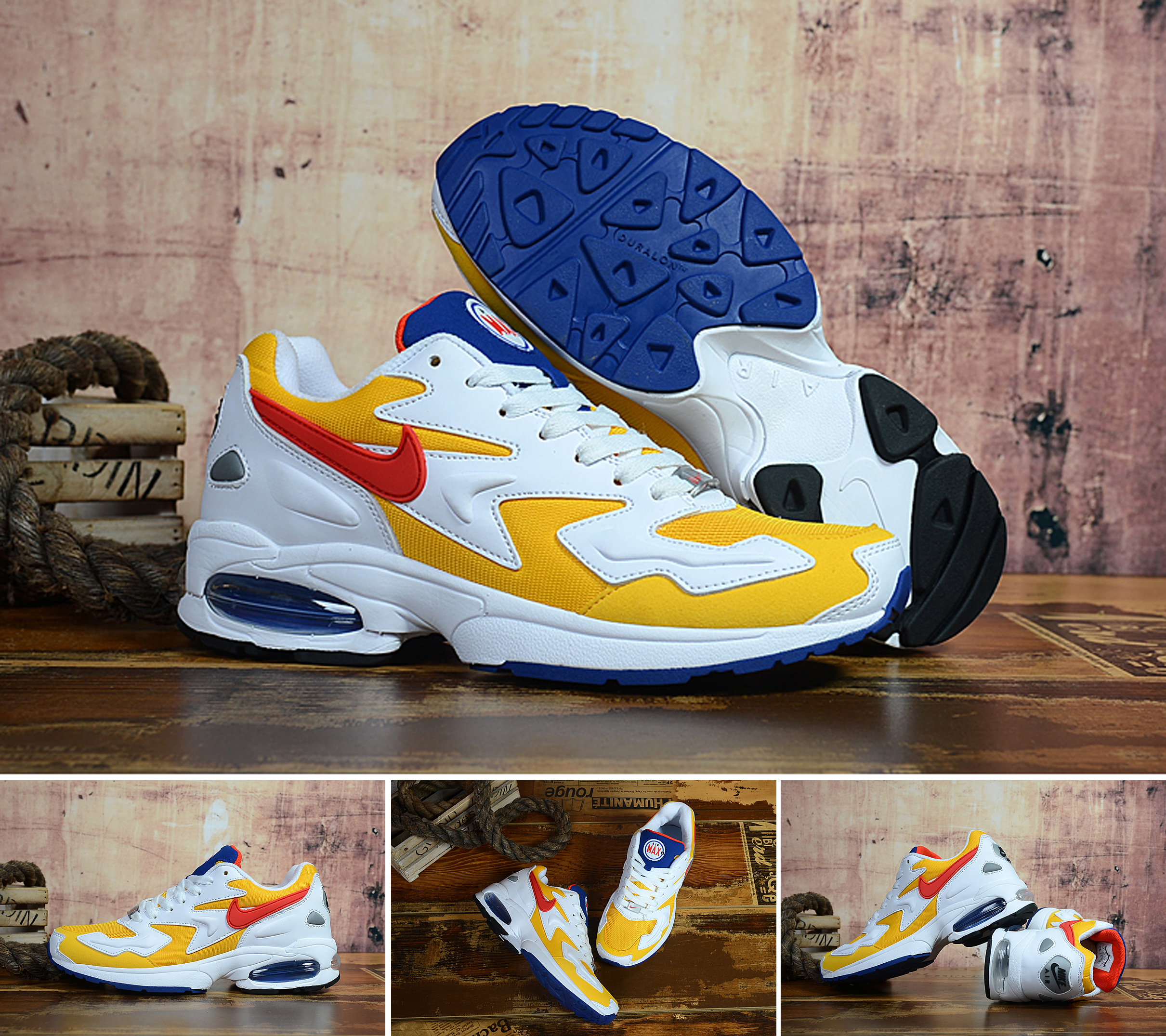 Men Air Max2 Light White Yellow Red Shoes
