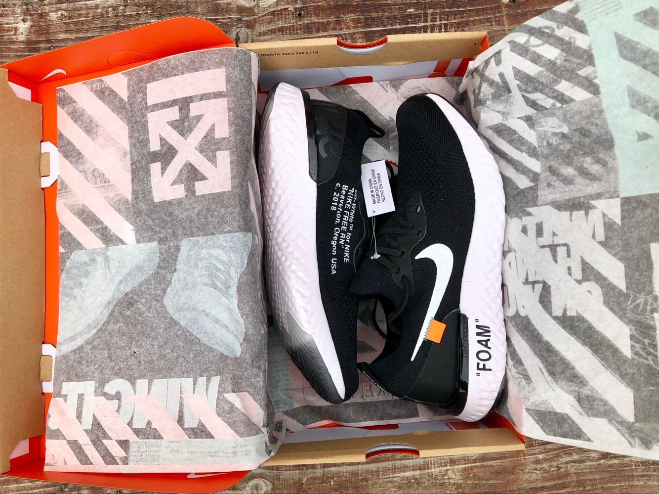 Men Off-white Nike Free Run 5.0 Black White