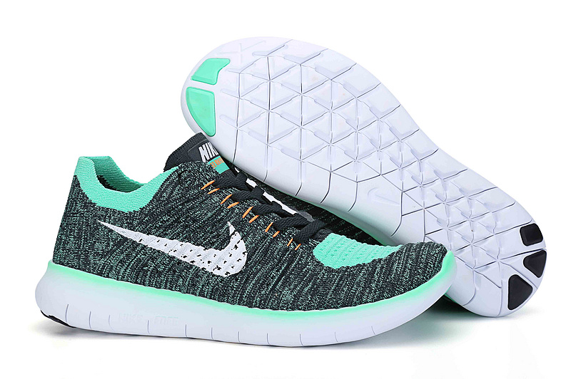 Men Nike Free 5.0 Flyknit Black Jade Blue White Running Shoes