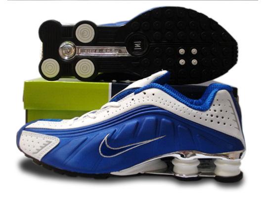 6fec7faede4731 Mens Nike Shox R4 Shoes Blue White Silver