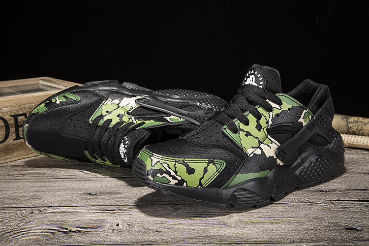 New Women Nike Air Huarache 1 Black Green Print Shoes