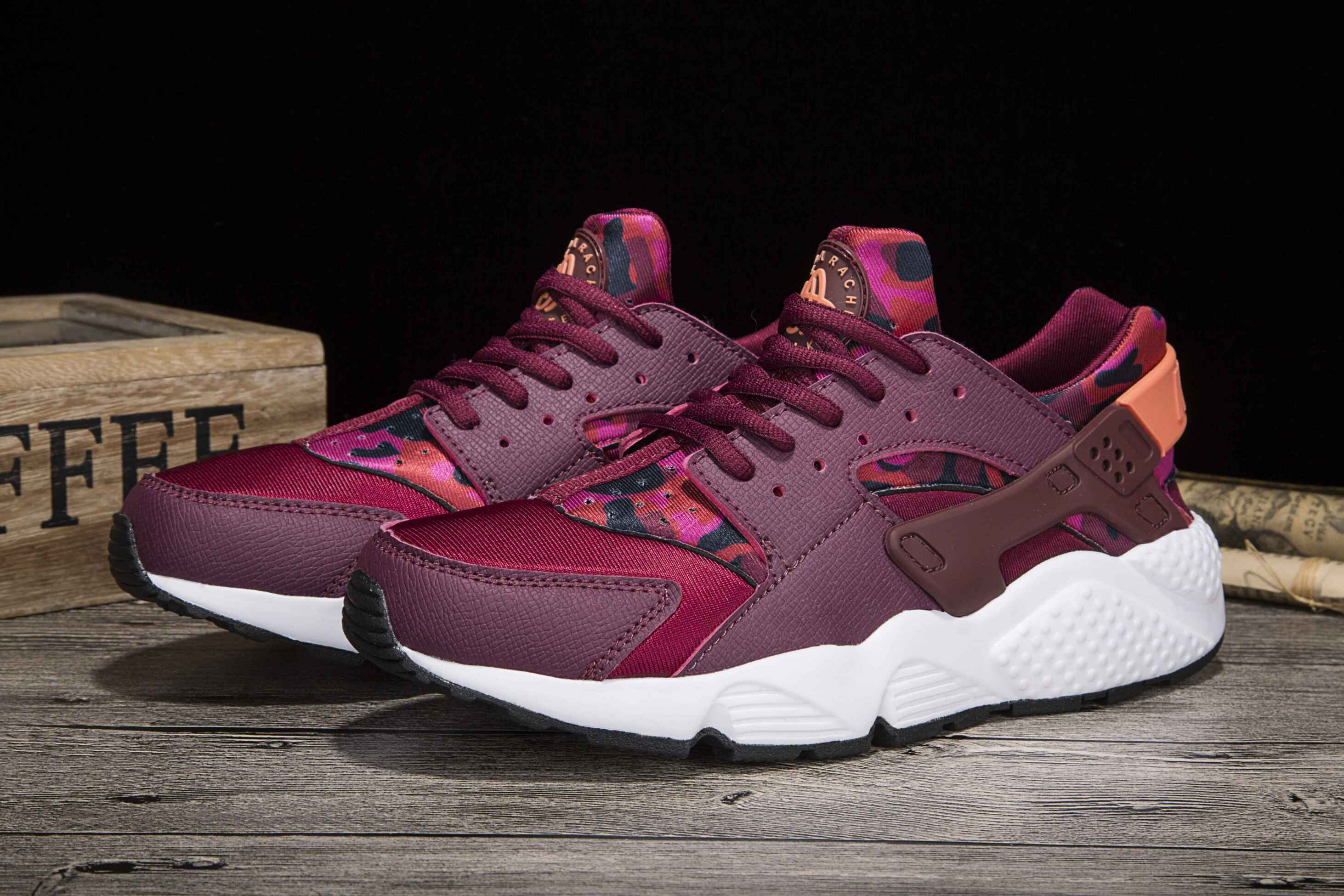 New Women Nike Air Huarache 1 Wine Red White Shoes