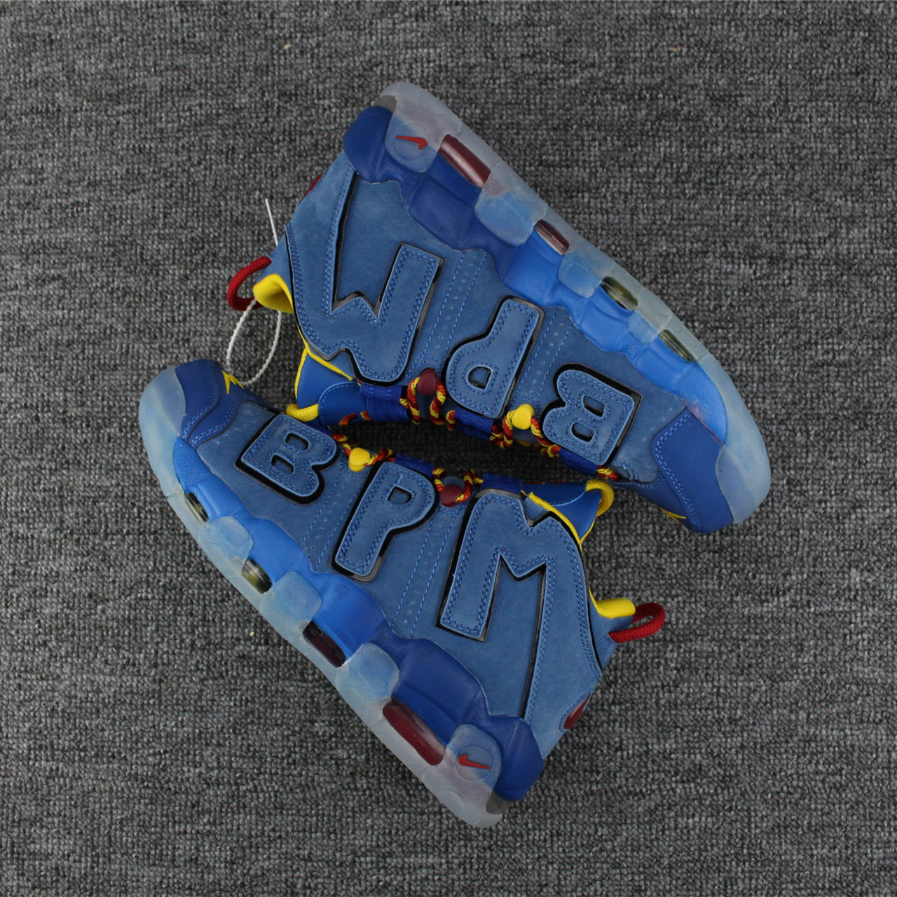 New Nike Air More Uptempo Deer Skin Blue Wine Red Yellow Shoes