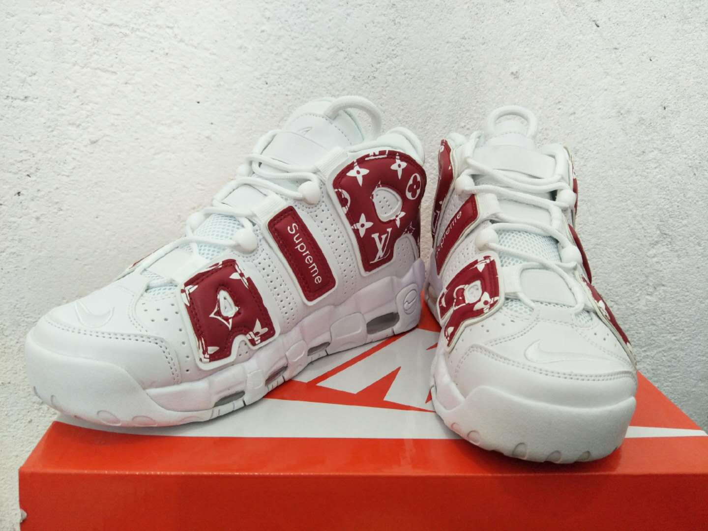New Nike Air More Uptempo Red Print Shoes