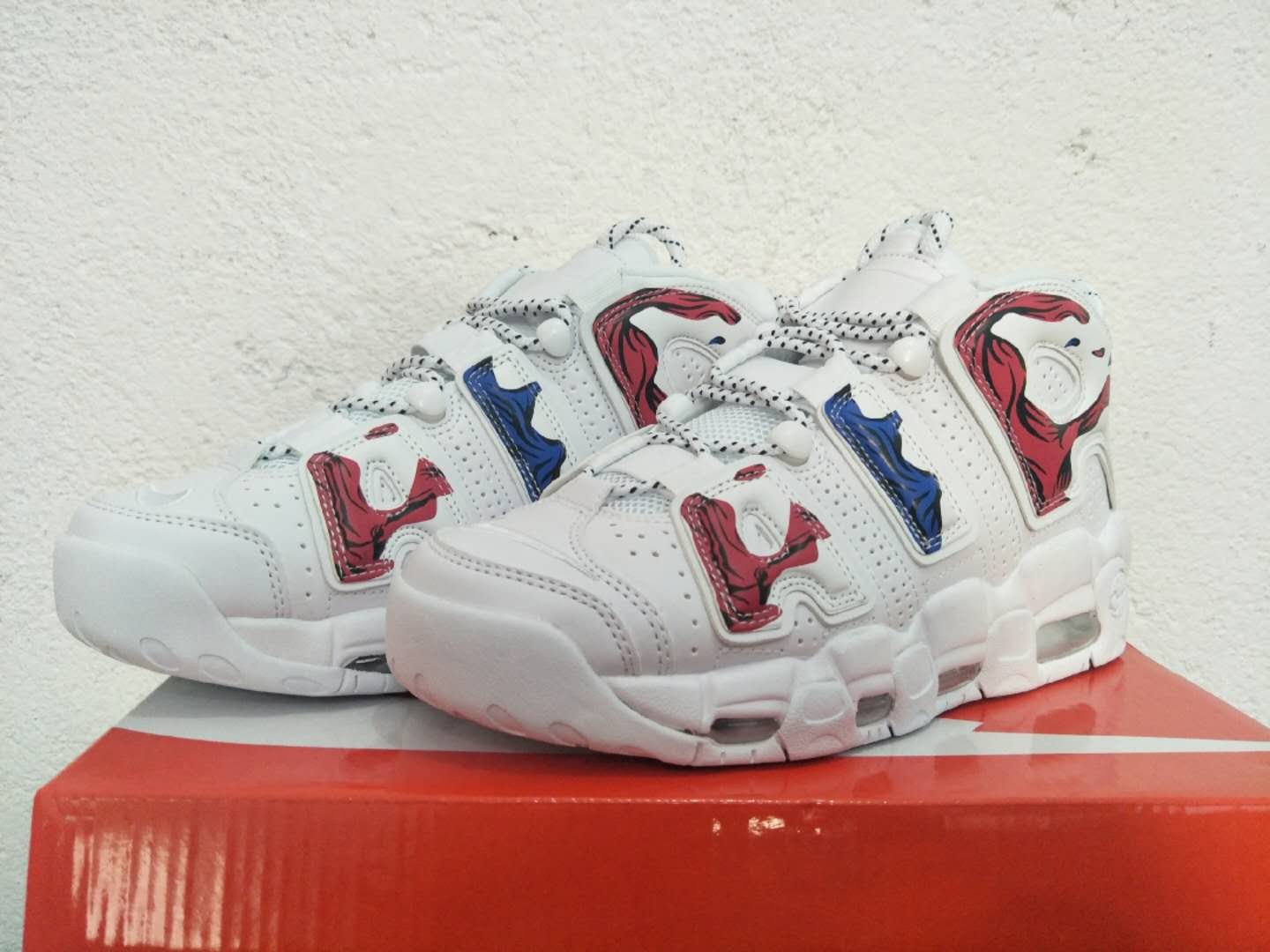 New Nike Air More Uptempo White Red Blue Shoes