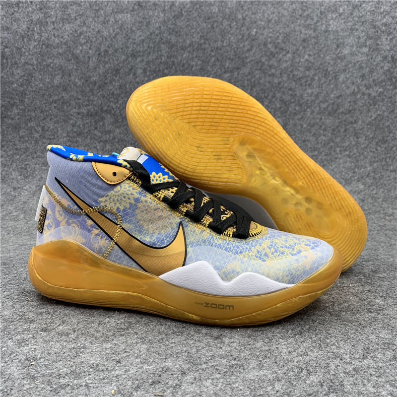 New Nike KD 12 Grey Blue Yellow Shoes