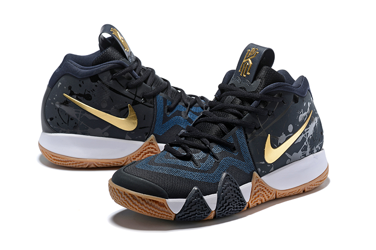 New Nike Kyrie 4 Black Deep Blue Gold Brown Shoes