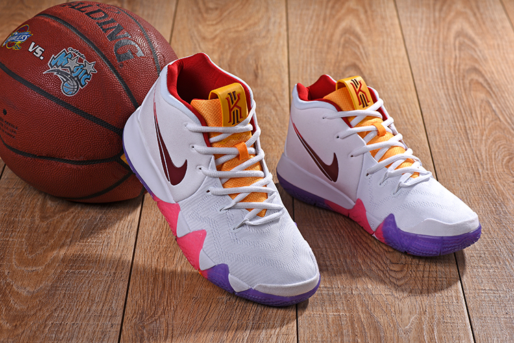 New Nike Kyrie 4 White Yellow Red Shoes