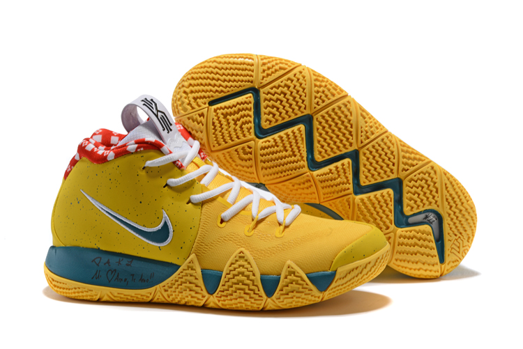 New Nike Kyrie 4 Yellow Blue White Shoes