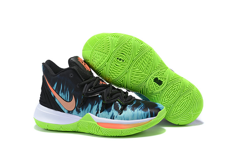 New Nike Kyrie 5 Black Blue Fire Orange Green Shoes