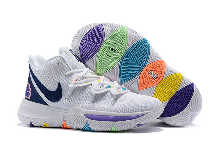 New Nike Kyrie 5 Smile White Purple Black Shoes