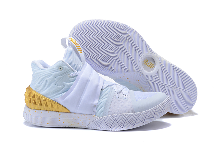 New Nike Kyrie S1HYBRID3 White Gold Shoes