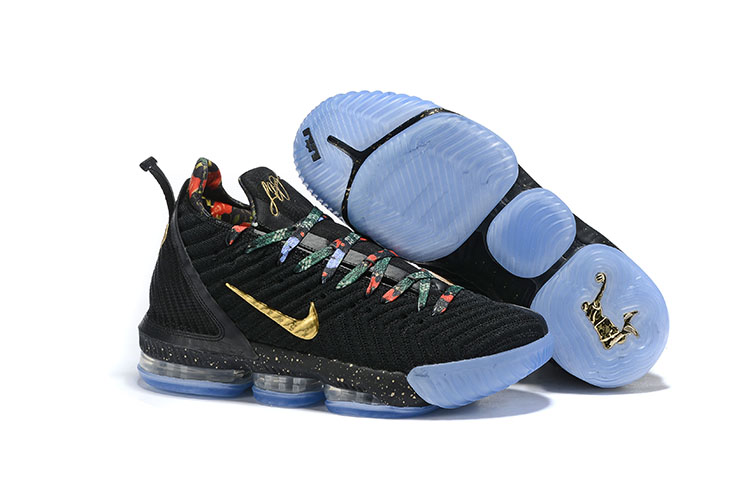 New Nike LeBron 16 Black Gold Gamma Blue Shoes