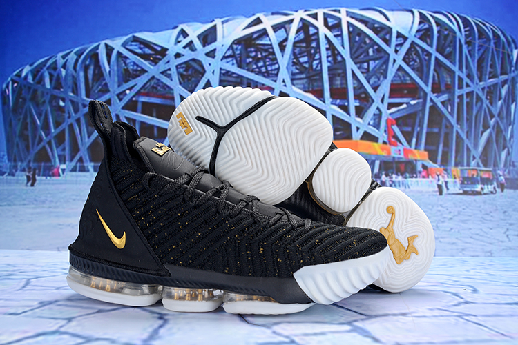 New Nike LeBron 16 Black Gold White Shoes